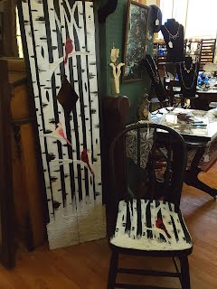 Hand Painted Shutter & Chair